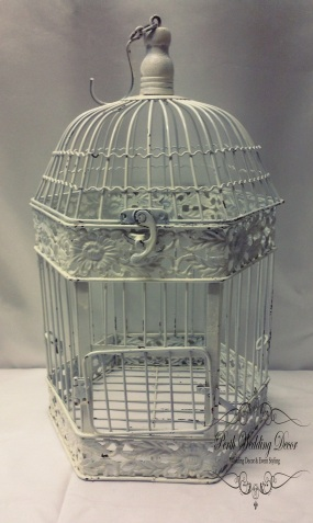 Medium white hexagon shaped birdcage.$5.50