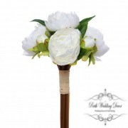 Melony Peony Bouquet with 7 Flowers Cream (31cmH)