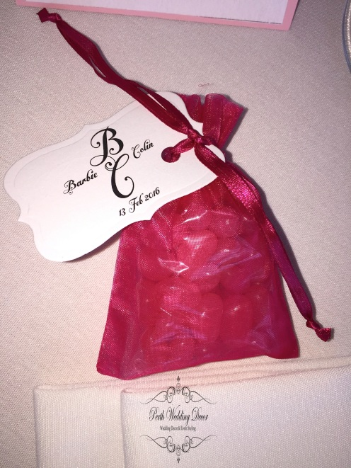 Organza bag filled with jelly beans, many colours available. $1.50 each