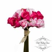 Rosalie Rose Bud Bouquet x15 Flowers Hot Pink (28cmH)