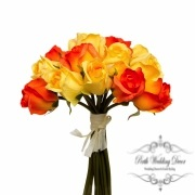 Rosalie Rose Bud Bouquet x15 Flowers Orange.Yellow
