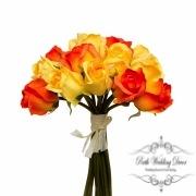 Rosalie Rose Bud Bouquet x15 Flowers Orange.Yellow