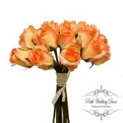 Rosalie Rose Bud Bouquet x15 Flowers Peach (28cmH)