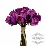 Rosalie Rose Bud Bouquet x15 Flowers Purple (28cmH)
