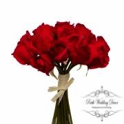 Rosalie Rose Bud Bouquet x15 Flowers Red (28cmH)
