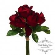 Rose Genna Bud Bouqet 7 Heads Velvet Dark Red (26cmST)