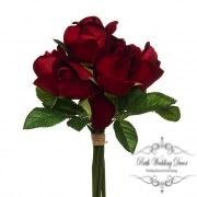 Rose Genna Bud Bouqet 7 Heads Velvet Dark Red (26cmST)