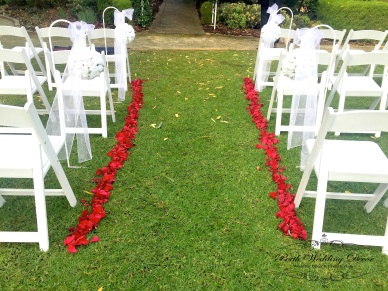 Rose petal aisle. $20.00 for a 6m aisle either side