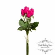 Rose Siena Bouquet Mini Buds x5 Real Touch Hot Pink (44cmST)