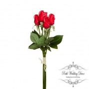 Rose Siena Bouquet Mini Buds x5 Real Touch Red (44cmST)