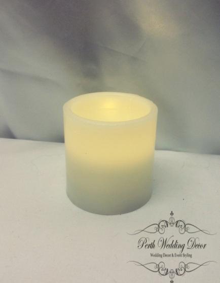 Short LED pillar candle, H-7.5cm W-7cm. $2.50 each