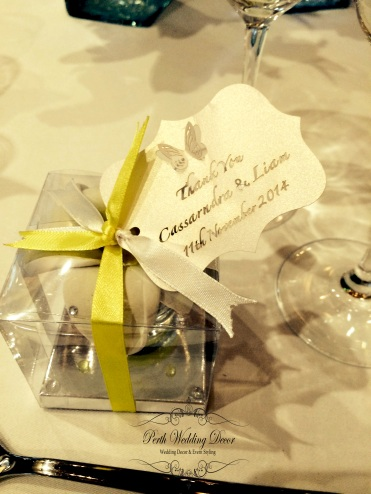 Shot glasses in a clear box with personalised label & coloured ribbon. $2.95 each