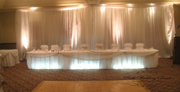 Table skirting & draping on bridal table. 3m-6m $ 18.00, 6m-12m $24.00