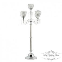 Tall 5 arm silver beaded candelabra. $45.00 each