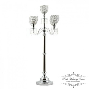 Tall 5 arm silver beaded candelabra. $45.00 each
