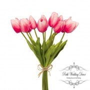 Tulip Mini Bouquet (12 Flowers 35cmST) Real Touch Hot Pink