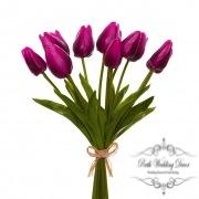 Tulip Mini Bouquet (12 Flowers 35cmST) Real Touch Purple
