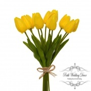 Tulip Mini Bouquet (12 Flowers 35cmST) Real Touch Yellow