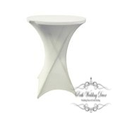 White lycra dry bar table cover. $5.50 each