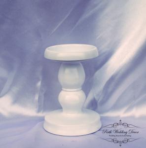 White metal pillar candle stand 15cm. $2.00 each
