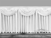 White Satin Double Drape Table Skirt avaiable in many sizes. -1