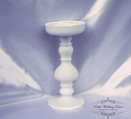 White wooden candle stand 19cm. $2.00 each