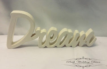White wooden word, Dream. $1.00 each