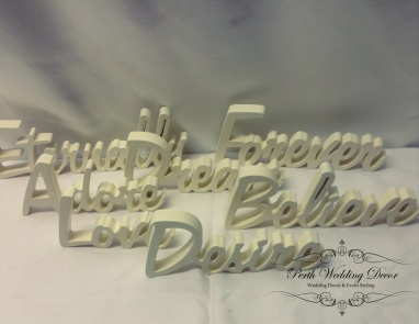 White wooden words. $1.00 ecah
