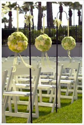 raw of carnations balls as a wedding aisle decor
