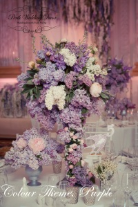 Festive table decoration in Lilac colours.