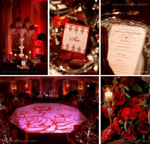 red rose themed wedding decorations